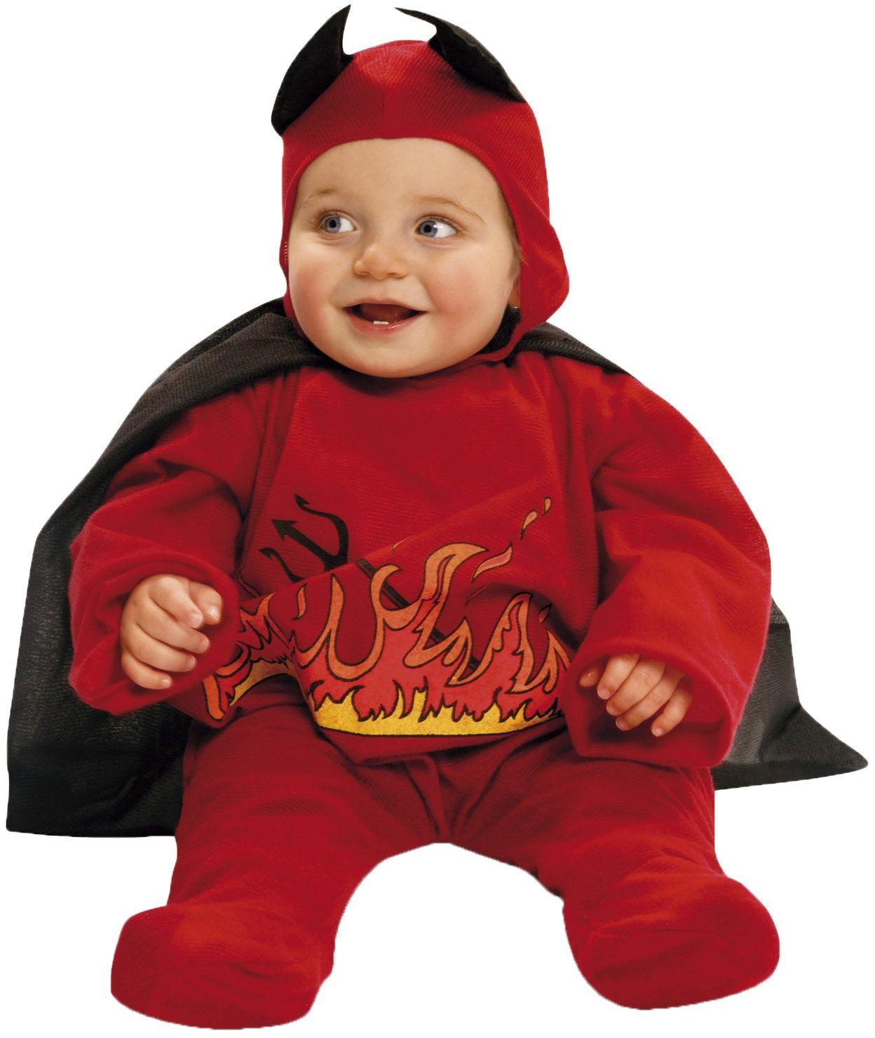My Other Me -203263 diabelski kostium z peleryną dla dzieci, czerwony, 1-2 lata (Viving Costumes 203263)