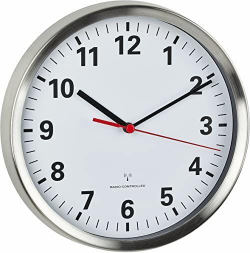 TFA Dostmann 60.3529.02 zegar ścienny sterowany radiowo, cichy, analogowy zegar ścienny, stal szlachetna/biały, 60.3529.02