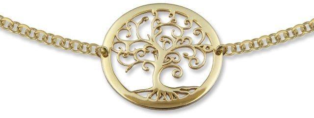 Naszyjnik ze złota - celebrytka z motywem drzewka szczęścia - Model 21
