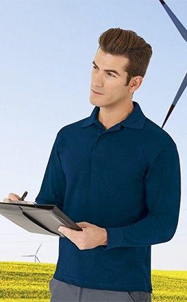 Koszulka POLO unisex Polówka z długim rękawem granat VALENTO EOLO