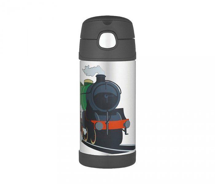 Kubek dla dzieci ze słomką Thermos FUNtainer 355 ml (stalowy/czarny) motyw pociąg