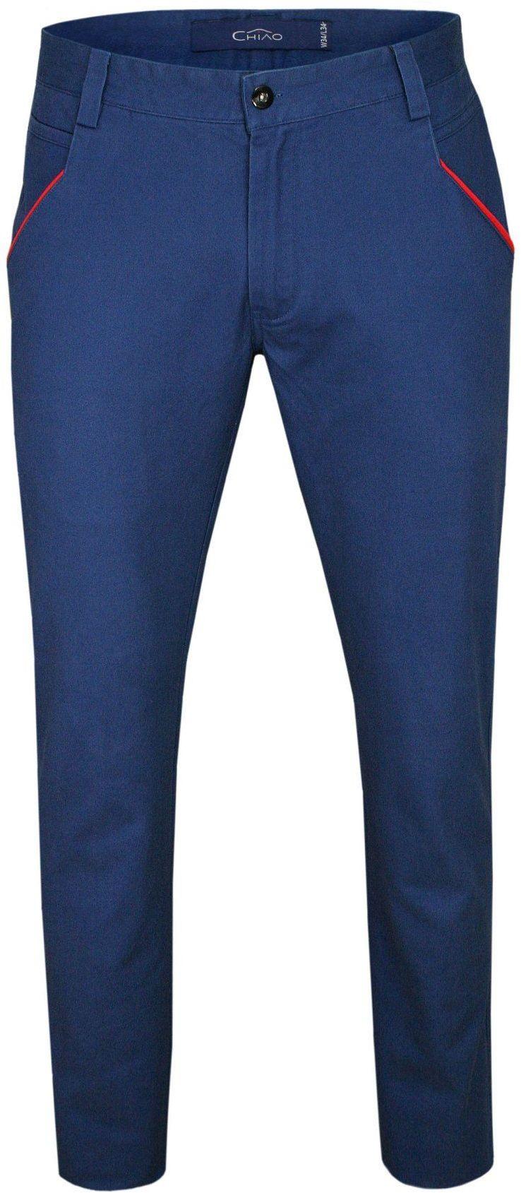 Chabrowe Bawełniane Spodnie Męskie, CHINOSY, Czerwone Wykończenia -CHIAO SPCHIAOM2A01chaber