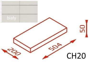 Daszek na murek CH20 50,4x20x5 biały / Joniec