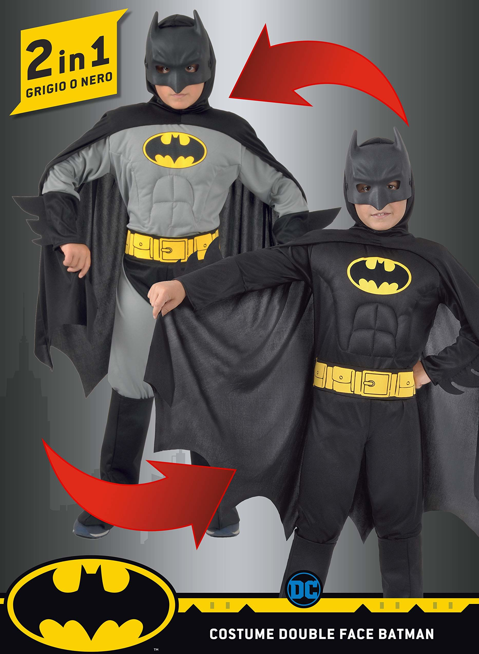 Ciao - Batman 2-w-1 (Classic/Dark Knight) oryginalny kostium komiksowy DC (rozmiar 10-12 lat) z wyściełanymi mięśniami klatki piersiowej dla dzieci, czarny, Girgio, 5-7, 11720.5-7