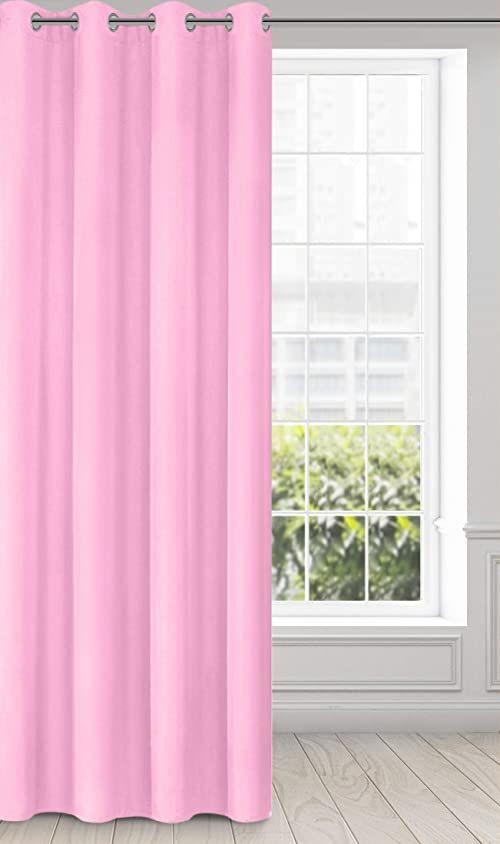 Eurofirany Rita zasłona gładka, prosta jednokolorowa  8 oczek, nowoczesna sypialnia, salon pokój dziecięcy, 1 sztuka, poliester, różowy, 140 x 250 cm