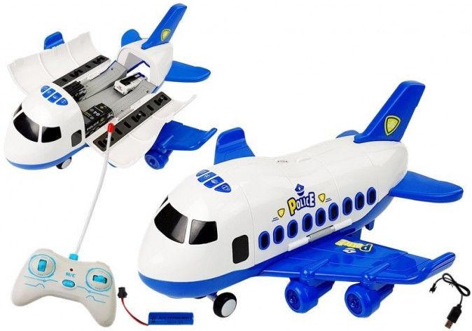 Rozkładany Samolot Policja Zdalnie Sterowany z Autkami