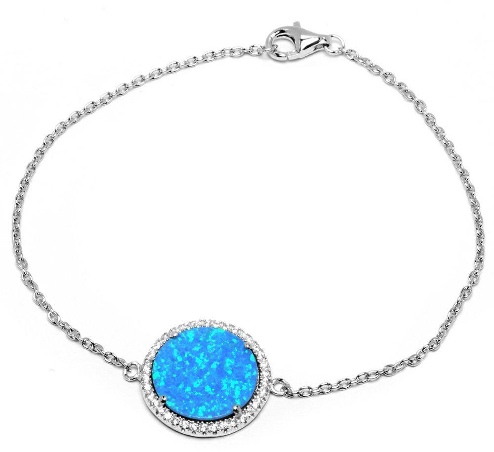 Srebrna Bransoletka z Niebieskim Opalem - Bransoletka
