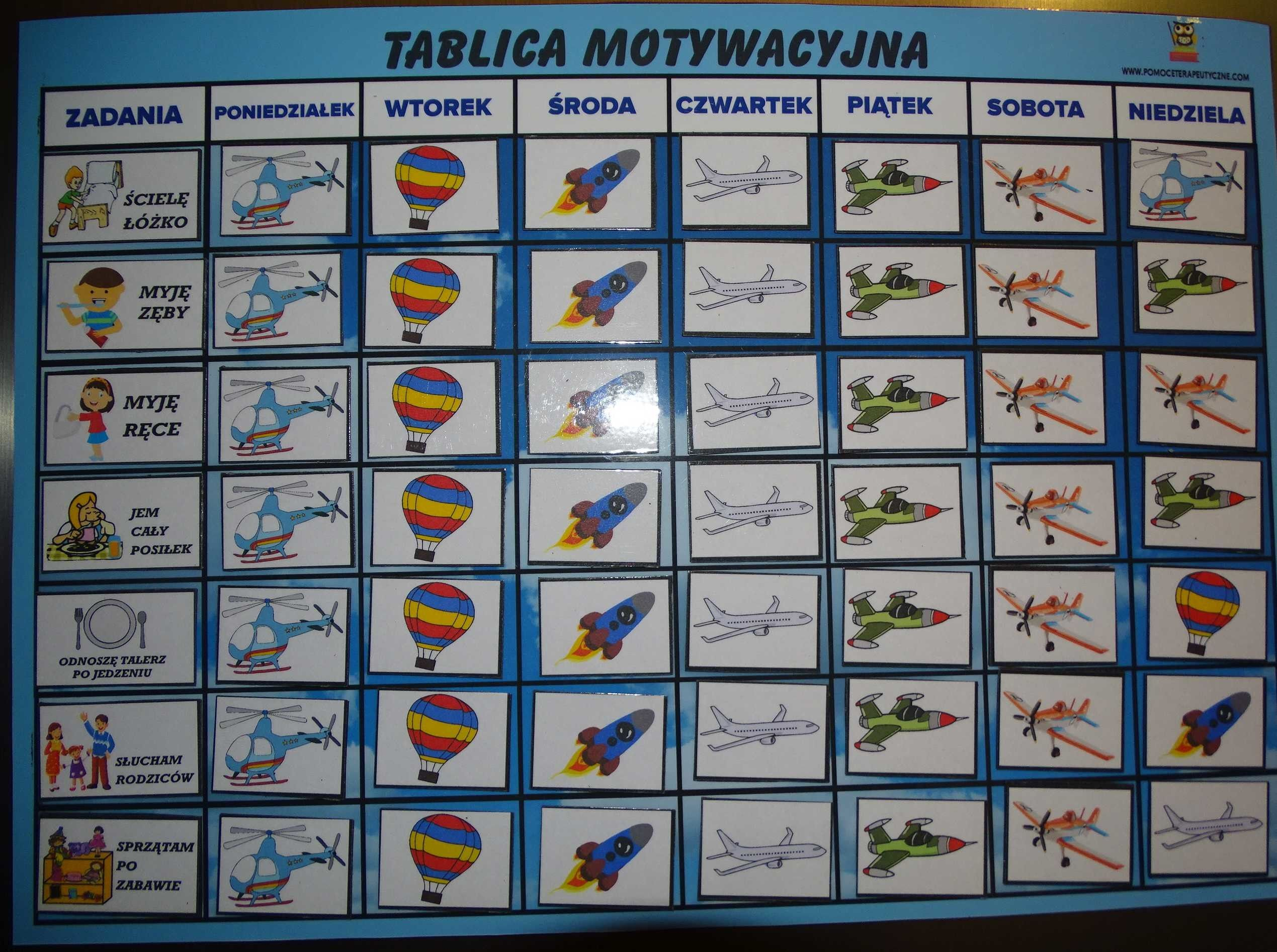 Magnetyczna tablica motywacyjna - samoloty