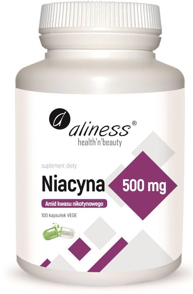 Niacyna Amid Kwasu Nikotynowego 500 mg (100 kaps) Witamina B3 Aliness