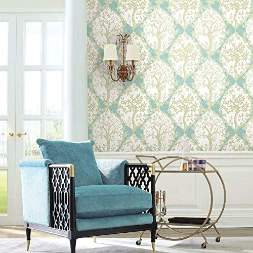 RoomMates RMK11666RL tapeta, samoprzylepna, drzewo i winorośl, winylowa, niebieska, szara i zielona, 45,72 cm x 5,74 m
