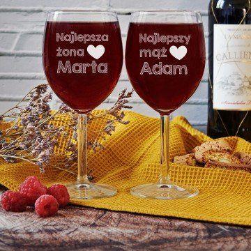 Najlepsi mąż i żona - Dwa Grawerowane Kieliszki do wina