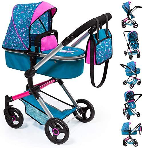 Bayer Design 18409AA Kombi wózek dla lalek Neo Vario z torbą do przewijania i koszem na zakupy, możliwość przekształcenia w samochód sportowy, z regulacją wysokości, turkusowy, różowy, syrenka