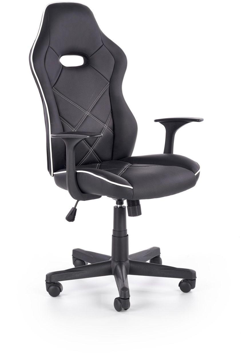 Fotel gabinetowy biurowy RAMBLER czarny / biały Halmar