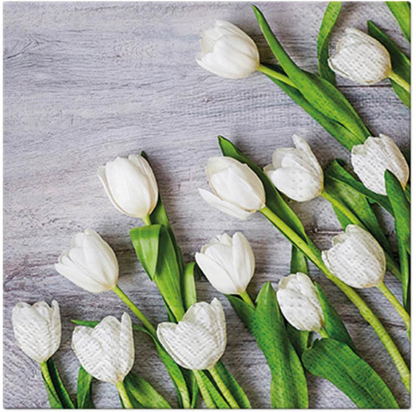 Serwetki Białe tulipany - 33 cm - 20 szt.