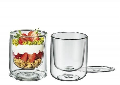 Cilio Glasses 250 Ml 2 Szt. - Pucharki Do Lodów I Deserów Z Podwójnymi Ściankami Szklane Z Pokrywkami