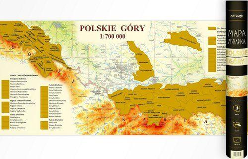 Polskie góry - mapa zdrapka, 1:700 000 ZAKŁADKA DO KSIĄŻEK GRATIS DO KAŻDEGO ZAMÓWIENIA