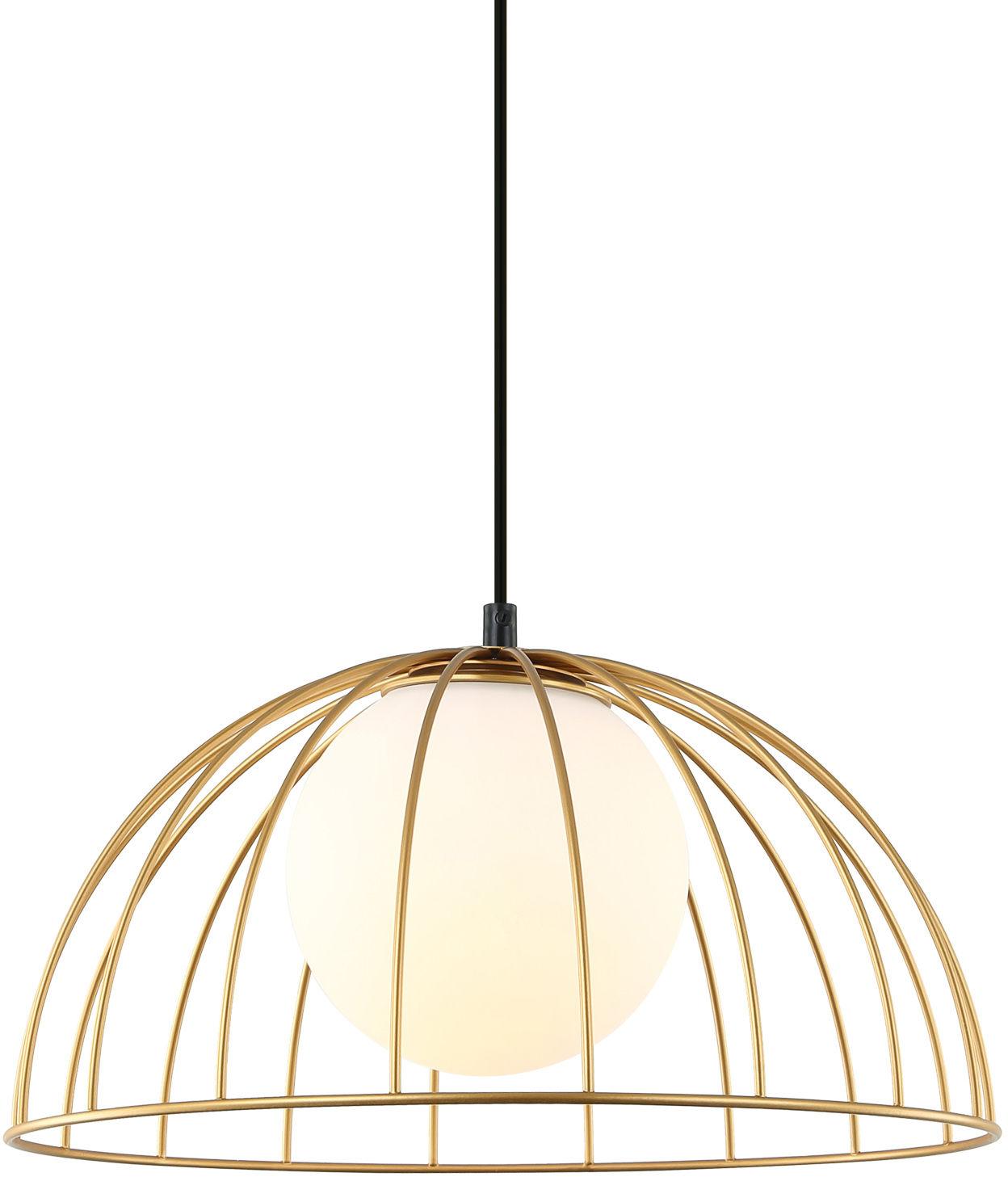 Italux lampa wisząca Louis MDM-3761/1M GD złota druciana z białym szklanym kloszem 35cm