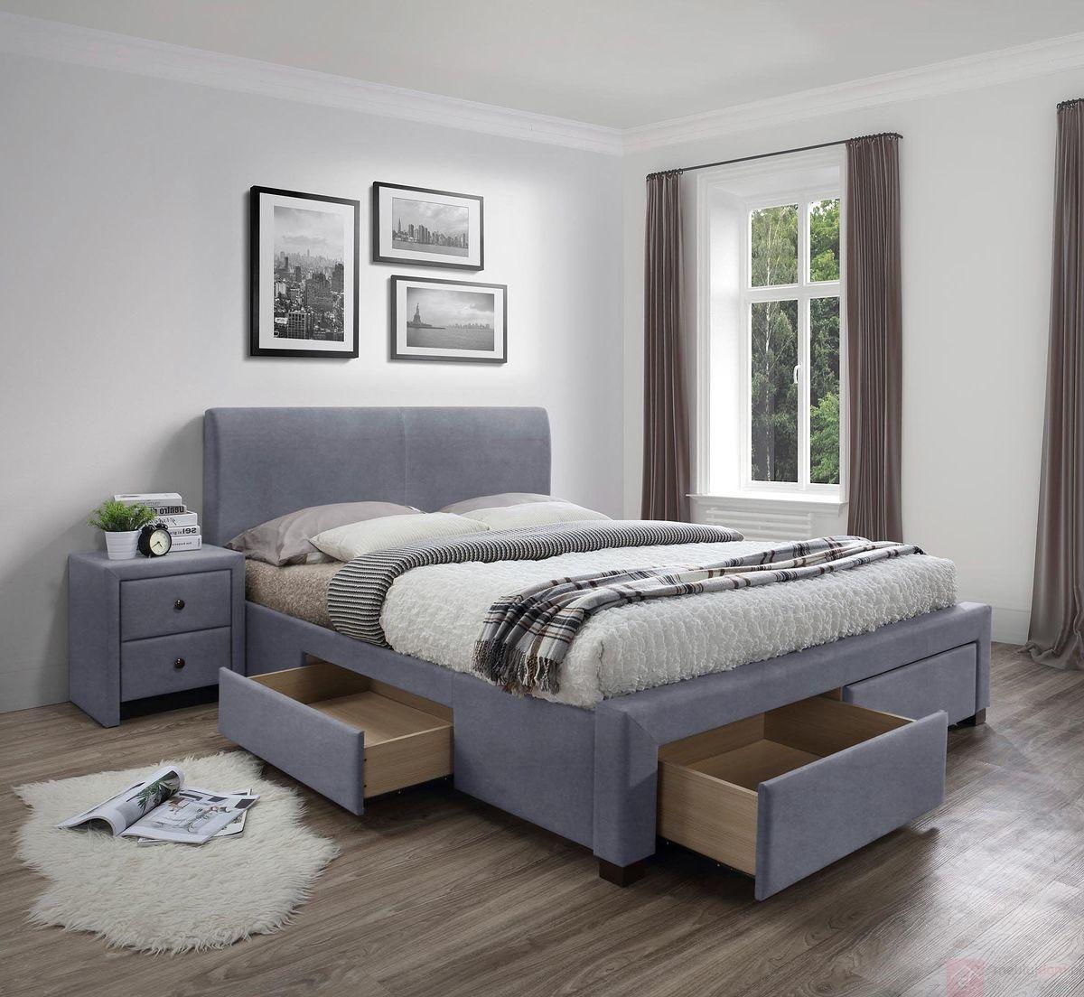 KUPON 10% NA STRONIE  Łóżko tapicerowane MODENA 3 Halmar 160x200 cm, Szary