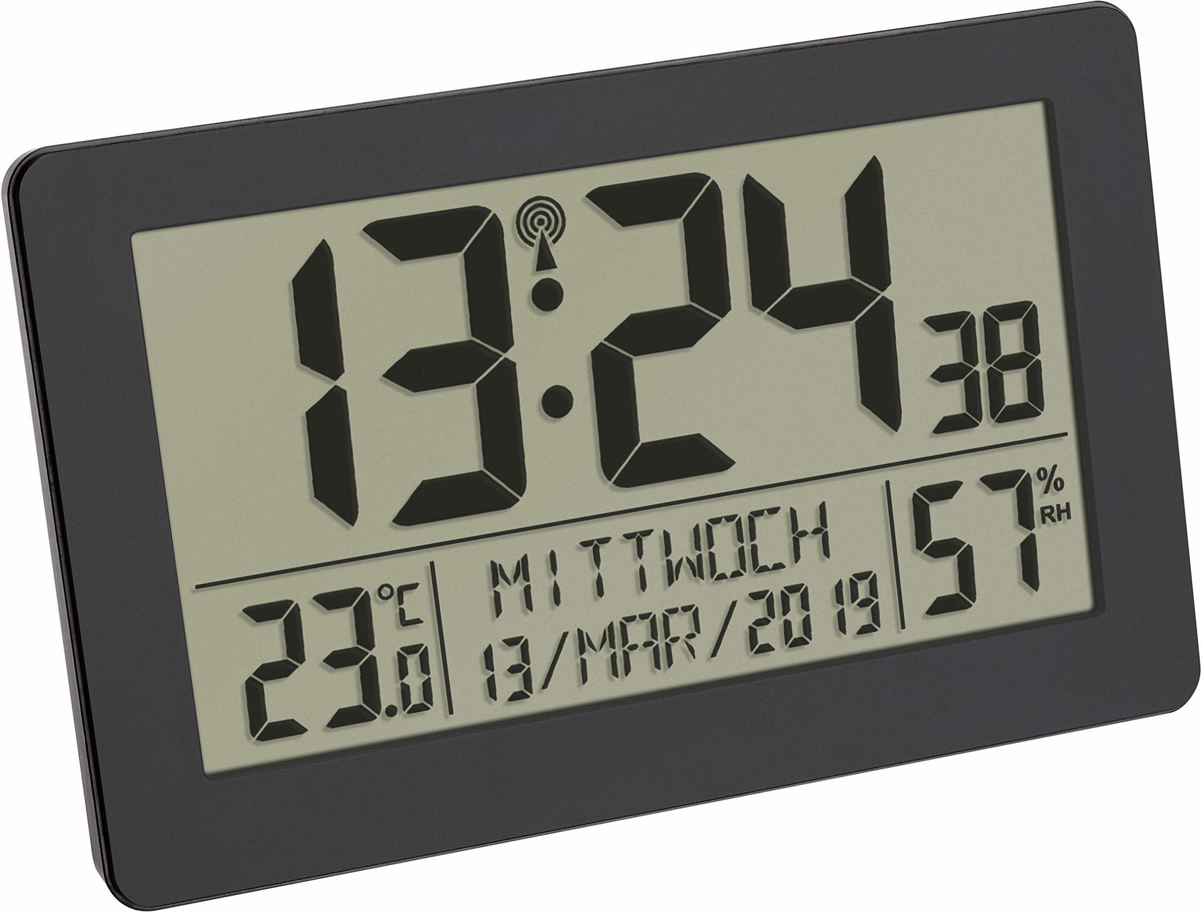 TFA Dostmann Cyfrowy radiowy zegar ścienny, duży wyświetlacz, ze wskaźnikiem temperatury, data, dni tygodnia, tworzywo sztuczne, dł. 215 x szer. 40 x wys. 170 mm
