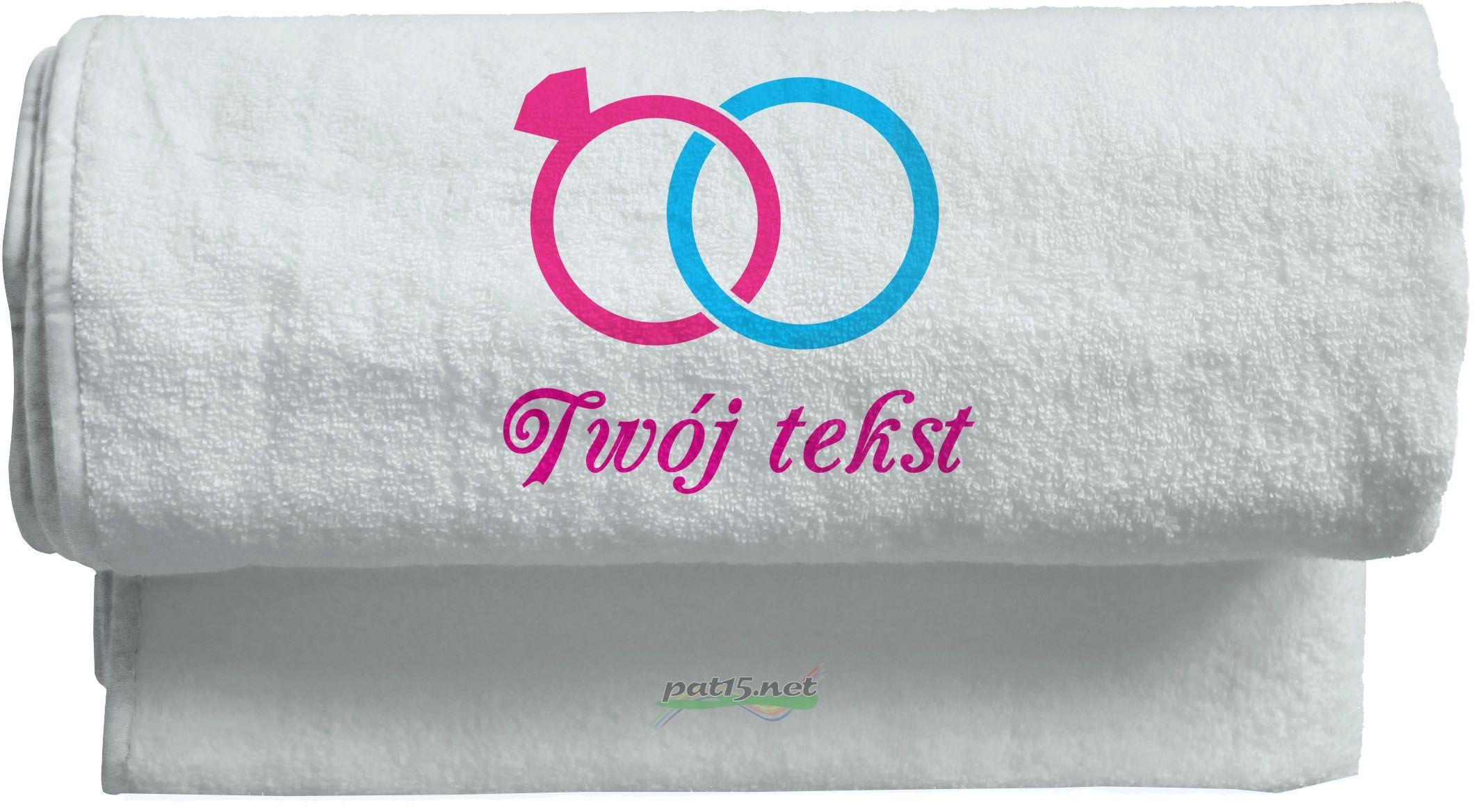 Duży Ręcznik 140x70 z haftem - Ślub Wzór 01