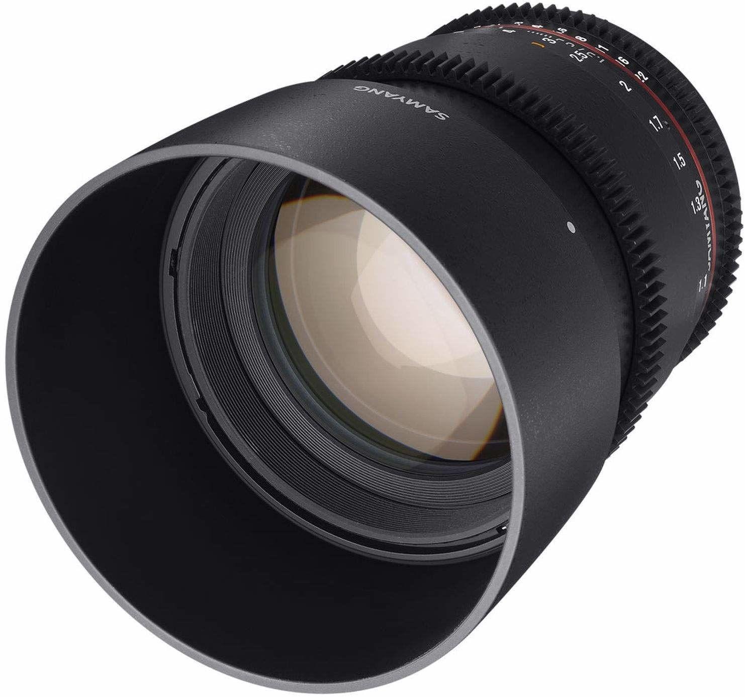 Samyang 85/1,5 obiektyw wideo DSLR II Nikon F ręczny obiektyw ogniskowy 0,8 zębatka Gear, obiektyw portretowy, czarny