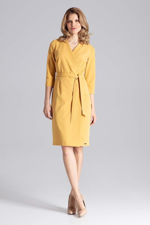 Musztardowa klasyczna kopertowa sukienka z paskiem