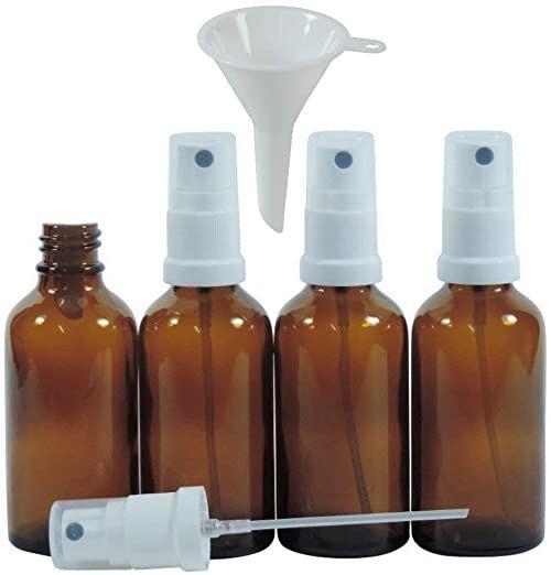 Viva artykuły gospodarstwa domowego  4 x butelka apteczna z rozpylaczem 50 ml z brązowego szkła, małe butelki szklane z efektem rozpylacza  Made in Germany i bez BPA (w zestawie lejek Ø 5 cm)
