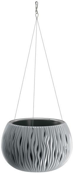 Doniczka z wkładem Sandy Bowl wisząca 29 cm szara