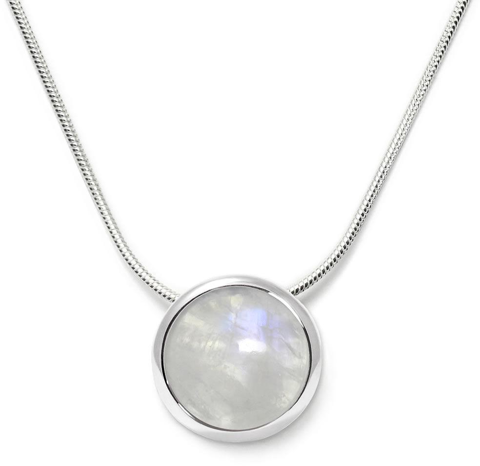 Kuźnia Srebra - Naszyjnik srebrny, 45cm, Kamień Księżycowy, 5g, model