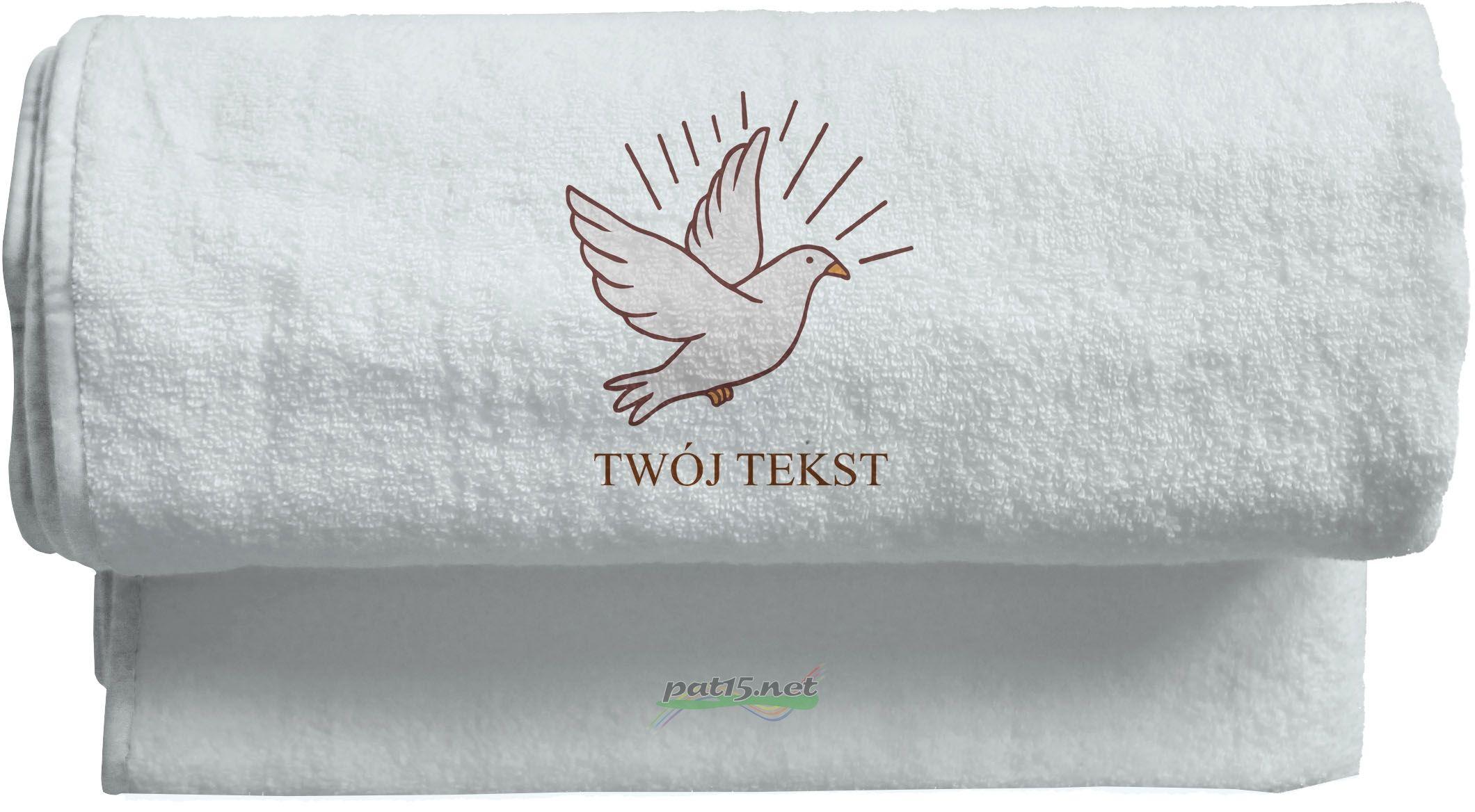 Duży Ręcznik 140x70 z haftem - Komunia Wzór 06