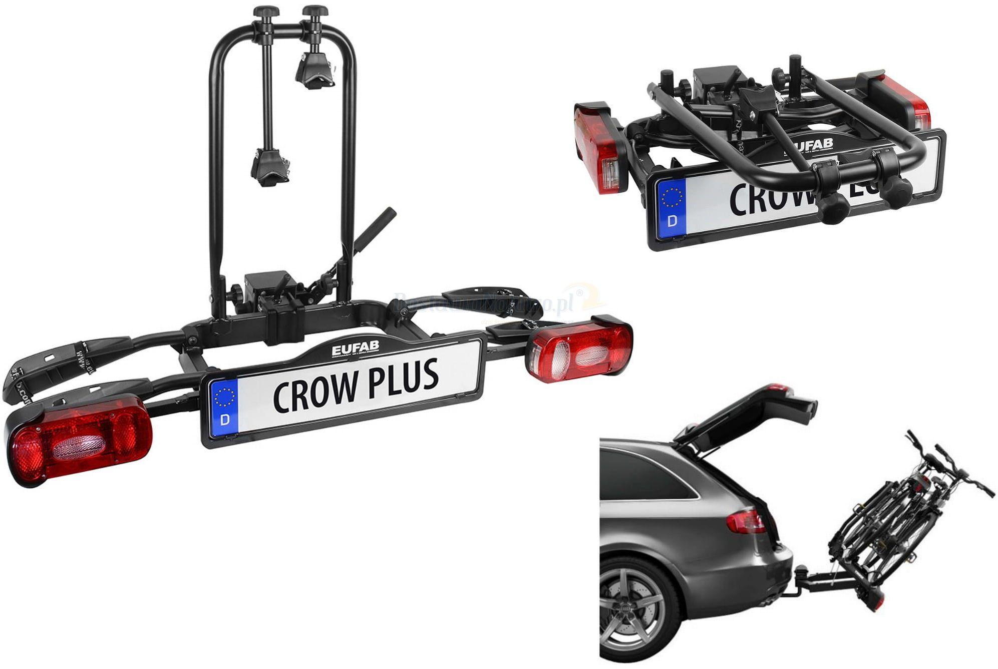 Składany uchylny bagażnik na rowery EUFAB CROW PLUS rozszerzalny uchwyt na hak