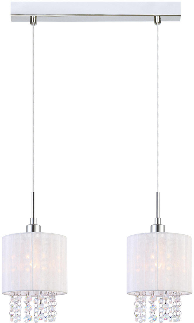 Italux lampa wisząca Astra WH MDM1953-2 W biały abażur z kryształkami 36cm