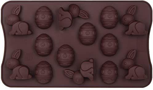 """Dr. Oetker Silikonowa forma do czekolady """"Wesołych Świąt Wielkanocnych"""" 14 silikonowych jajek czekoladowych, kształt czekolady, zajączek wielkanocny, zajączek czekoladowy do ciasta, ilość: 1 sztuka"""