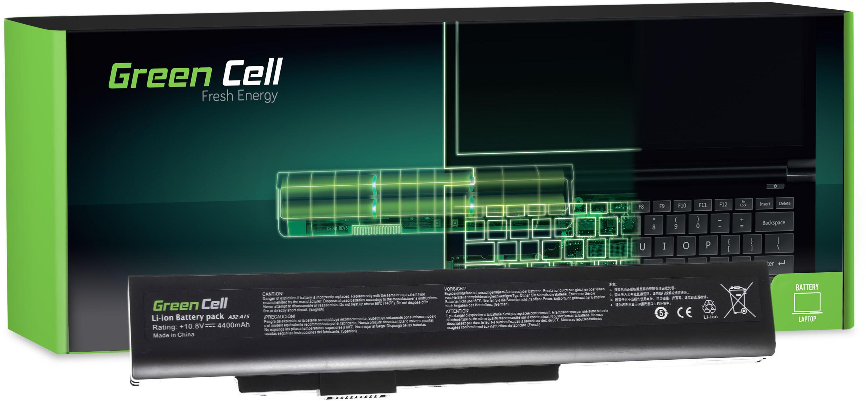Bateria Green Cell A32-A15 do MSI CR640 CX640, Medion Akoya E6221 E7220 E7222 P6634 P6815, Fujitsu LifeBook N532 NH532