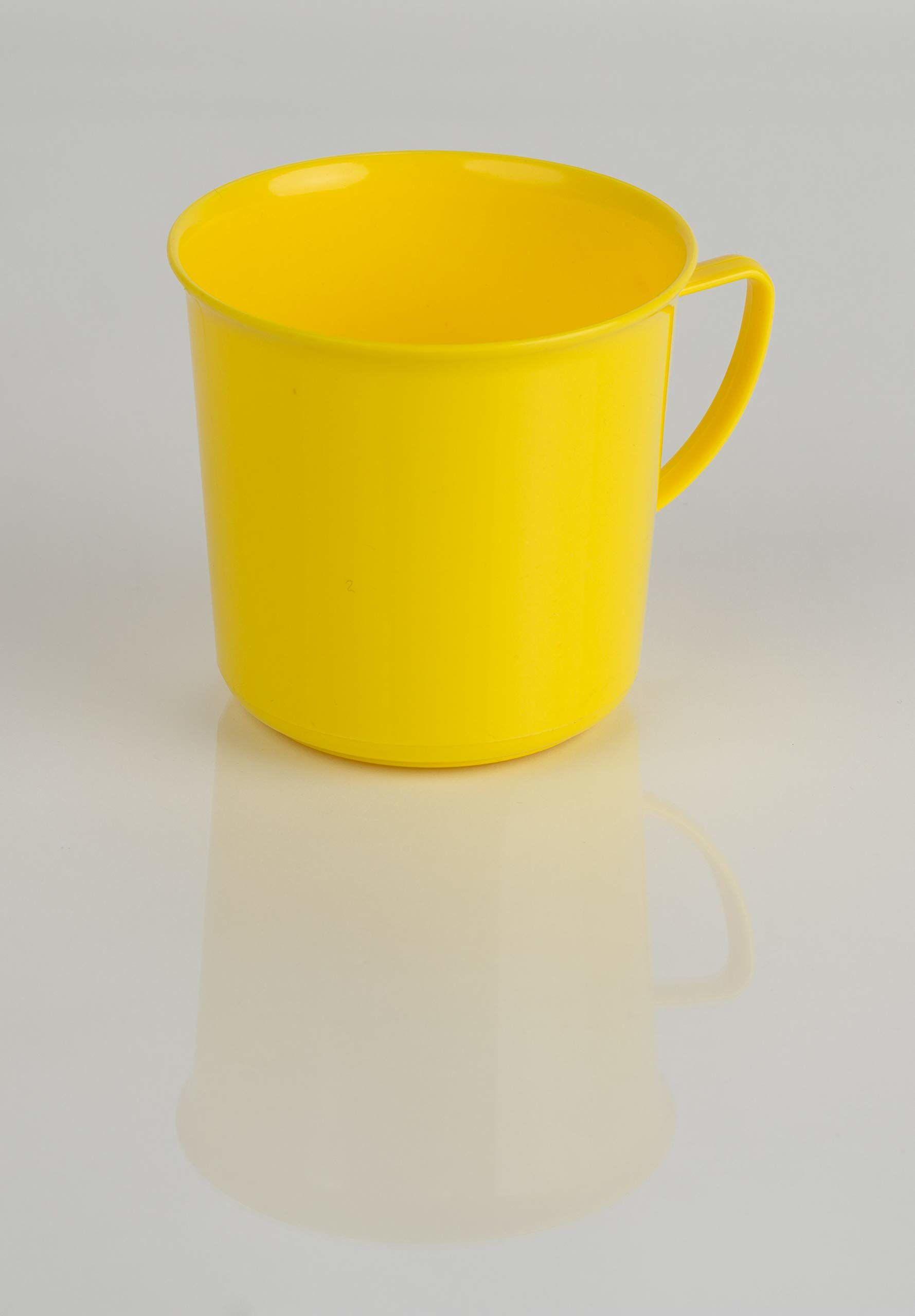 Kimmel Kubek z uchem, filiżanka z uchem, filiżanka do herbaty, kubek do kawy, wielokrotnego użytku, nietłukący 330 ml, tworzywo sztuczne, żółty