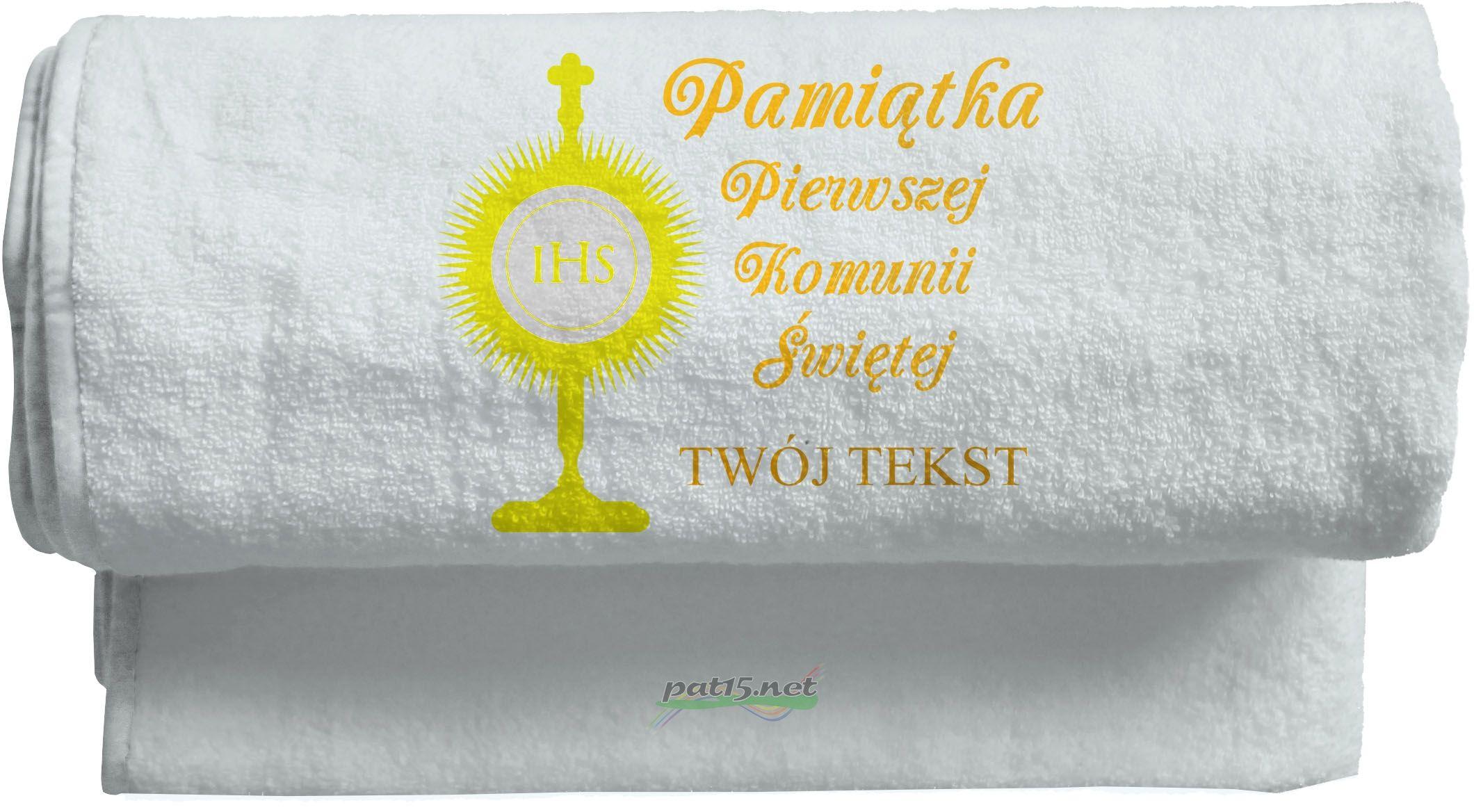 Ręcznik 100x50 z haftem - Komunia Wzór 04