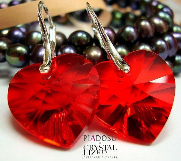 Kryształy kolczyki Serce Czerwone SREBRO