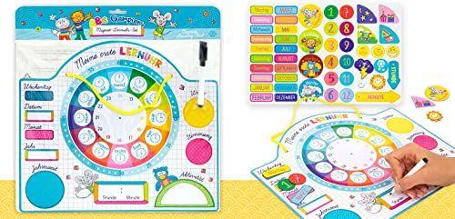 Trendhaus 953575 magnetyczny kalendarz dziecięcy tablica do nauki w zestawie zegar do nauki z datą, godziną i porami roku zegarek dla dzieci od 3 lat