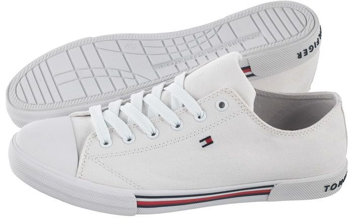 Trampki Tommy Hilfiger Low Cut Lace-Up Sneaker T3X4-30692-0890 100 White (TH79-a)