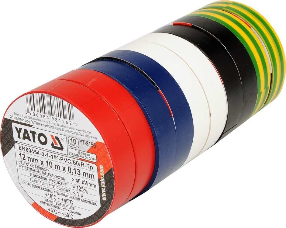 Taśmy izolacyjne 12mmx10mx0,13mm; mix kolor, kpl. 10 szt. Yato YT-8156 - ZYSKAJ RABAT 30 ZŁ