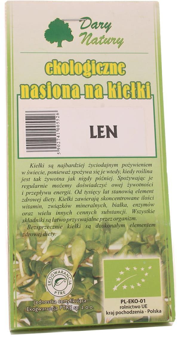 Nasiona lnu na kiełki Len BIO - Dary Natury - 30g