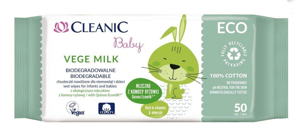 HARPER Cleanic Baby Eco Chusteczki nawilżane dla niemowląt i dzieci Vege Milk - biodegradowalne 1op.-50szt