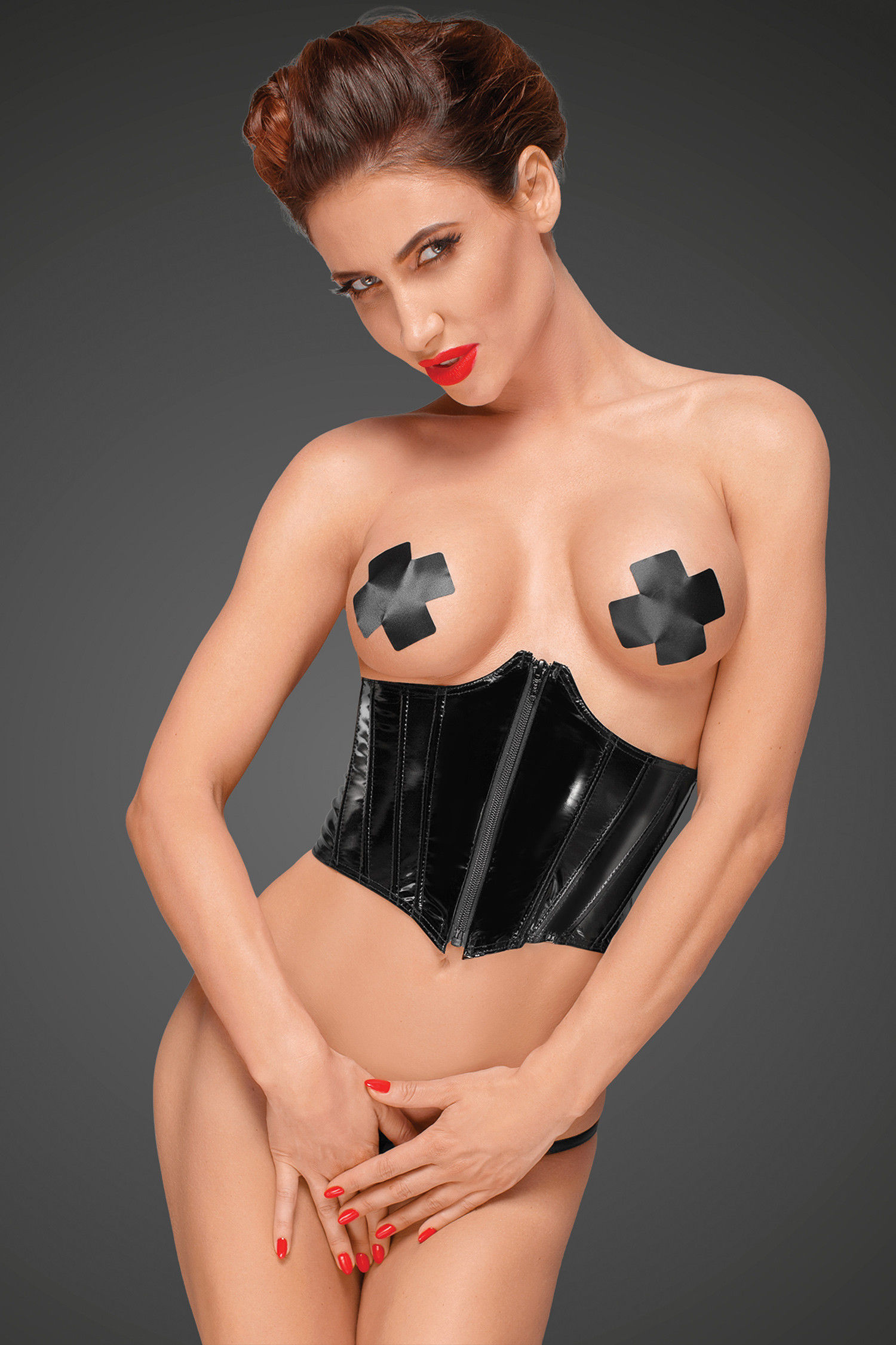 Noir Handmade F193 PVC Corset with Adjustable Lacing on The Back S