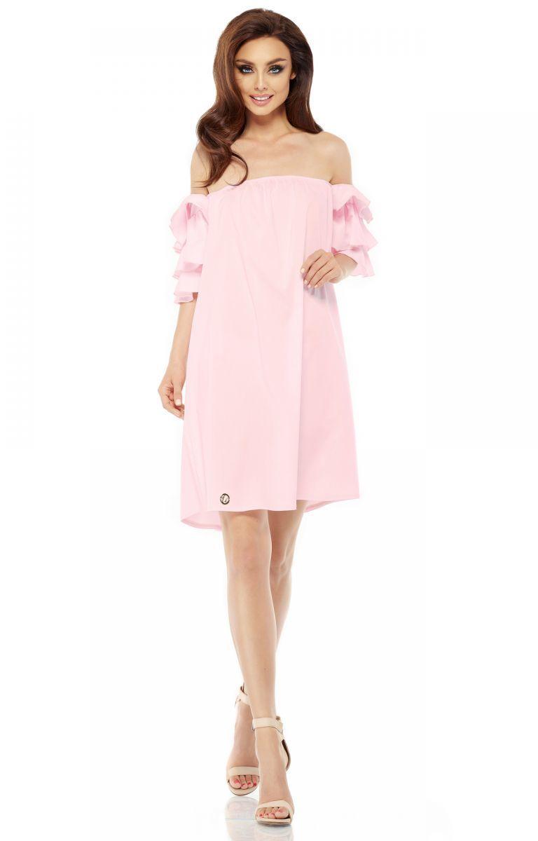 Idealna sukienka bez ramion L252 pudrowy róż