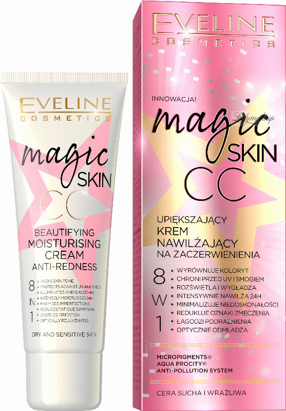 Eveline Cosmetics - MAGIC SKIN - CC - Upiększający krem nawilżający na zaczerwienienia - 8w1 - 50 ml