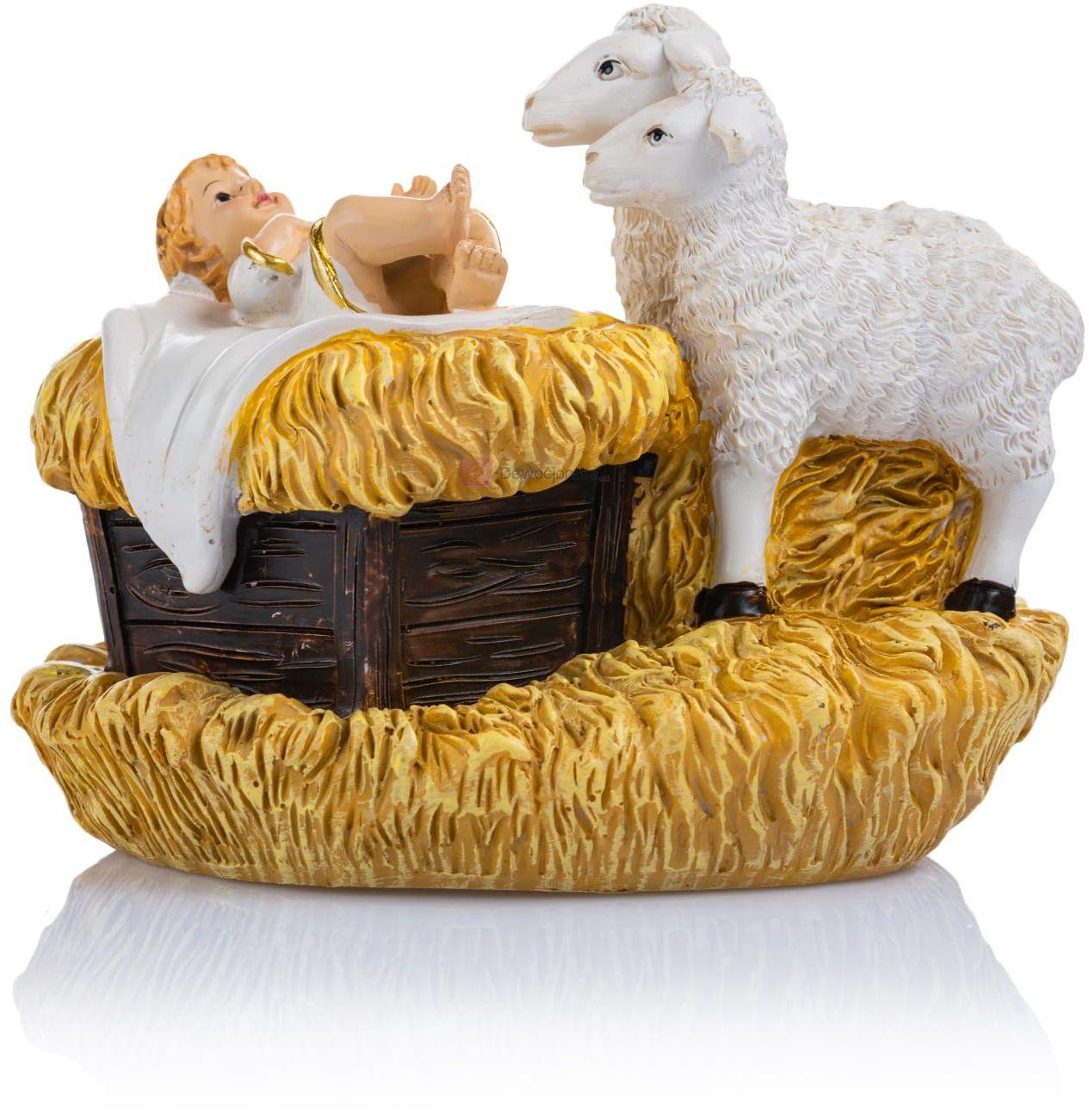 Figurka - Dzieciątko Jezus - baranki - 10 cm