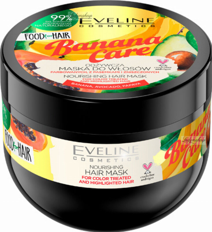 Eveline Cosmetics - Food for Hair - Nourishing Hair Mask - Odżywcza maska do włosów koloryzowanych i z pasemkami - Banana Care - 500 ml