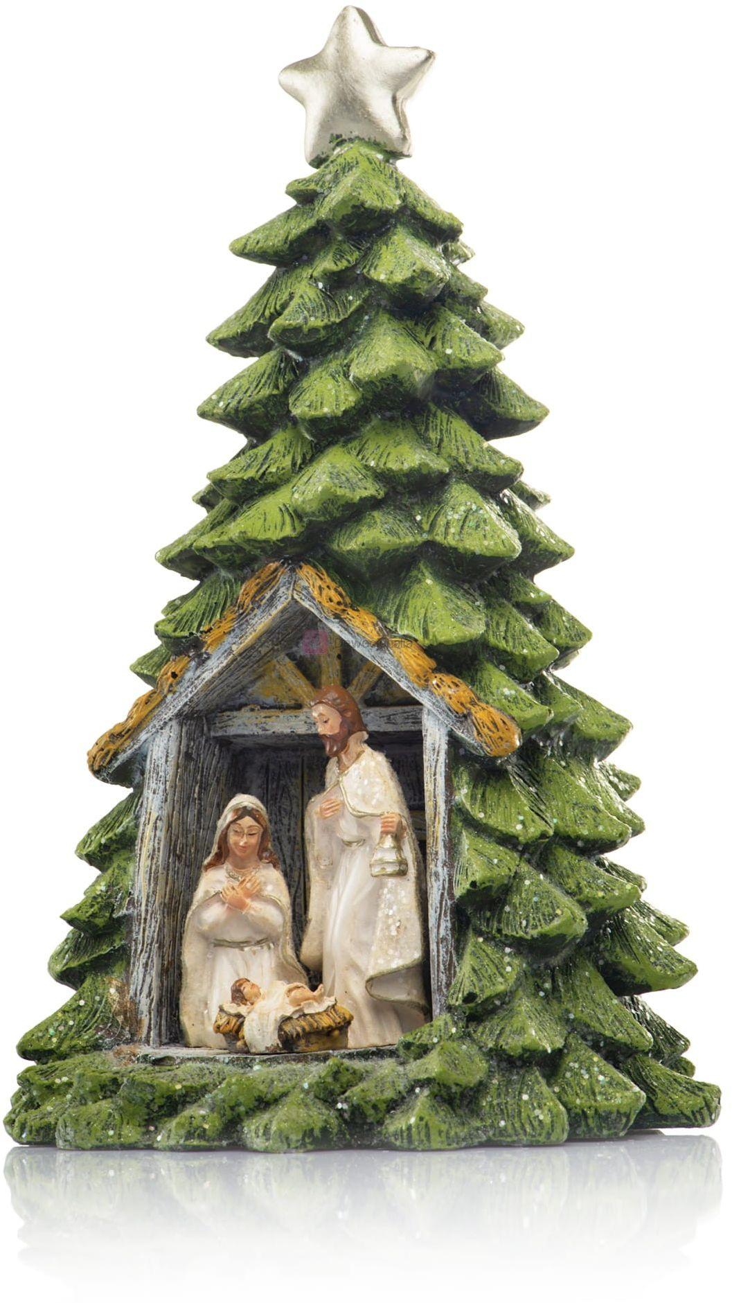 Figurka - choinka - Święta Rodzina - świecąca - 25 cm