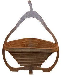 Kosz składany bambusowy na owoce, miska dekoracyjna, miska na owoce, drewniana gruszka składana
