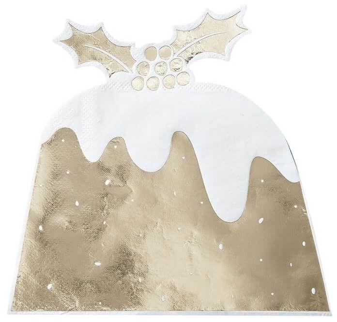 Serwetki bożonarodzeniowe Christmas Pudding złote - 27,5 cm - 12 szt.